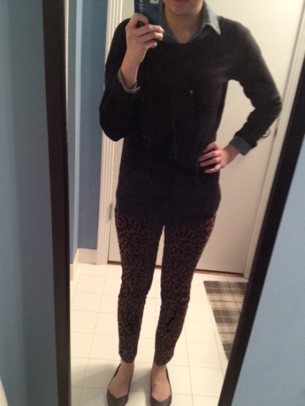OOTD: Leopard Pants, Black Sweater, Chambray Shirt, and Black Flats